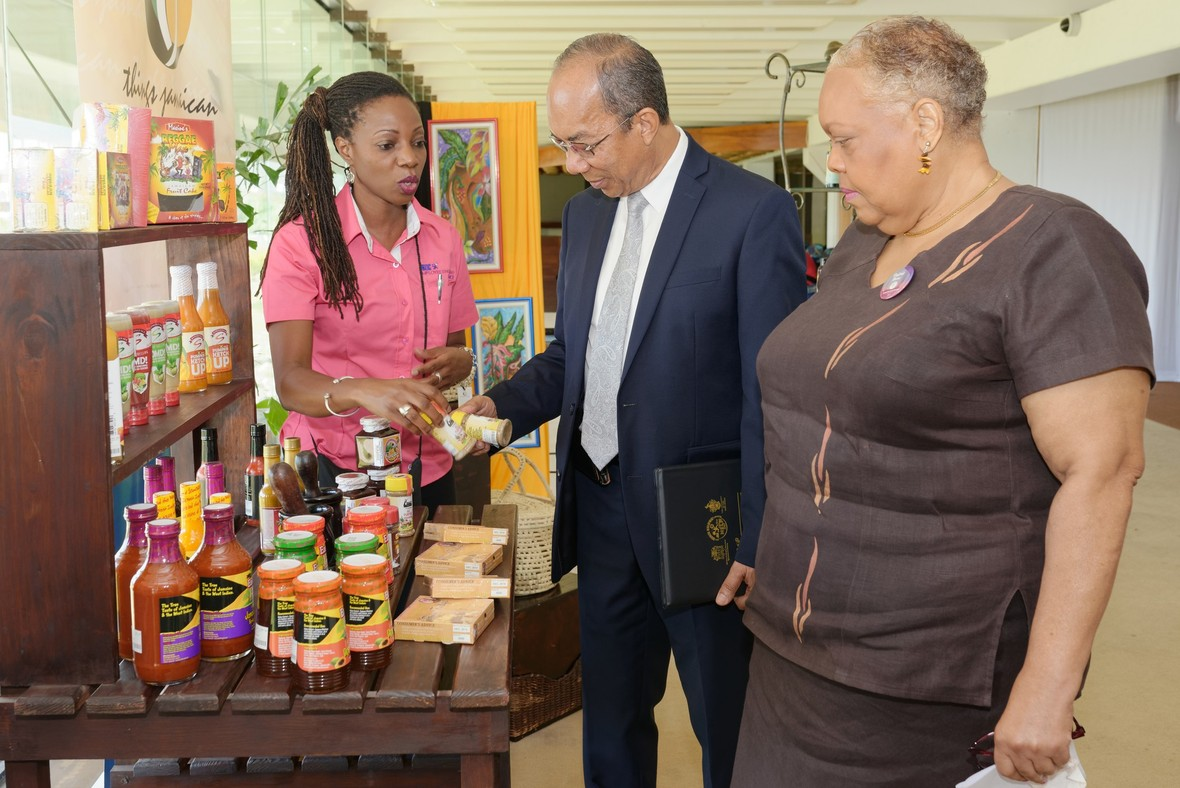 Chief Executive Officer of the JBDC, Valerie Veira (right) takes the Hon. Dr. Horace Chang, Minister without Portfolio in the Economic Growth and Job Creation Ministry (centre) on a tour of the Things Jamaican display after the completion of the Employee Engagement Conference's Opening Ceremony recently. Dr. Chang who was the guest speaker said that the active engagement of workers is critical to the overall development and growth of Jamaica's economy. Also sharing in the moment is Assistant Marketing Services Manager at Things Jamaican, Vivette McFarlane (left).